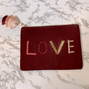 Stella and Dot Embroidered Love Pouch red